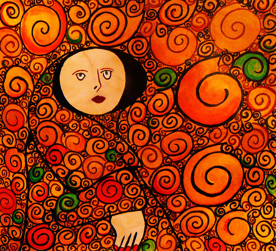 woman in circles gustav klimt