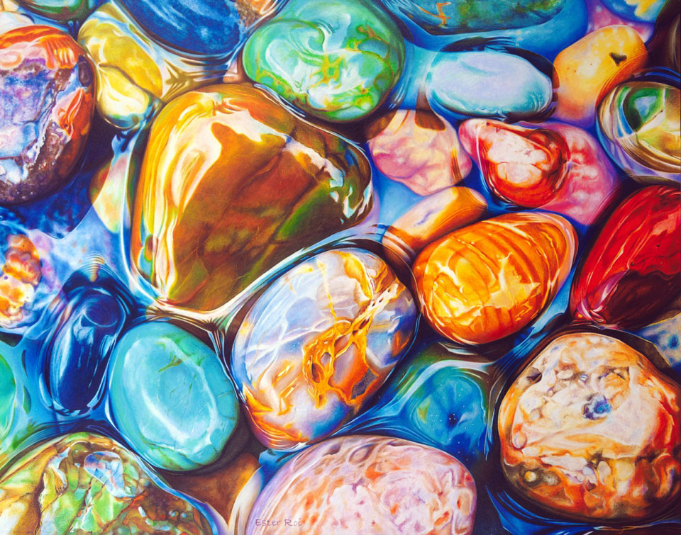 7 realistic pebbles painting by ester roi